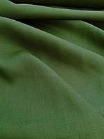 Льняная сорочечная ткань зелено - оливкового цвета