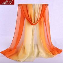 Женский оранжевый шарф - 150*50см, шифоновый