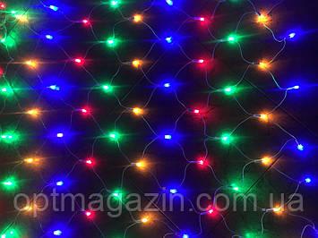 Гирлянда Сетка для окон разноцветная белый шнур 3D 1.5*1.5, фото 2