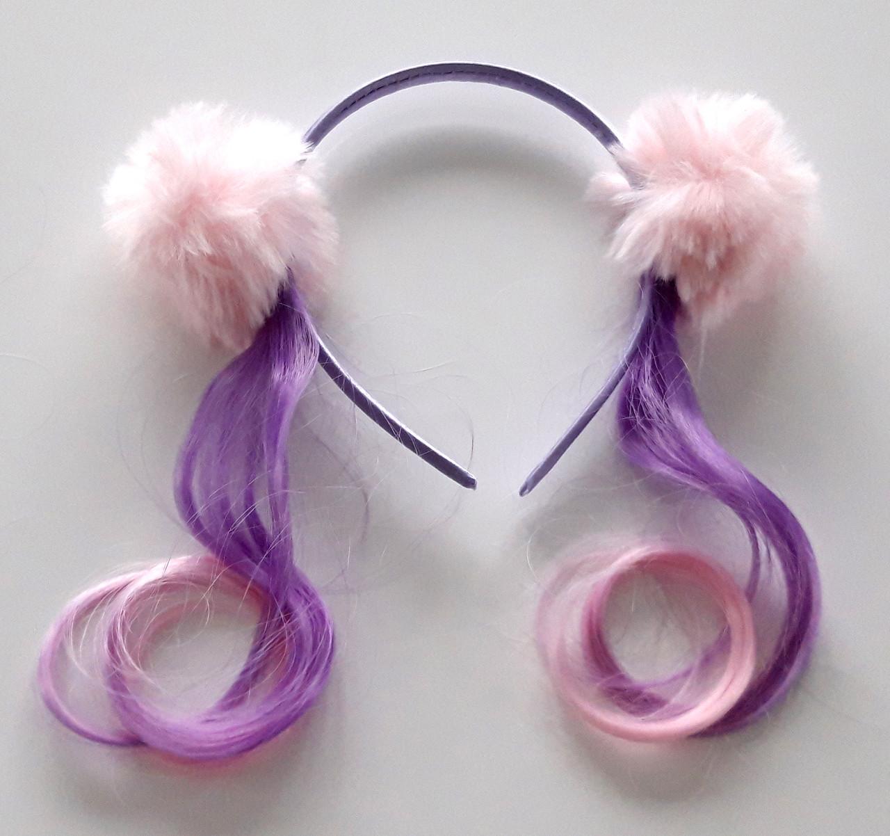 Обруч для волос с локонами два помпона, розово-сиреневый