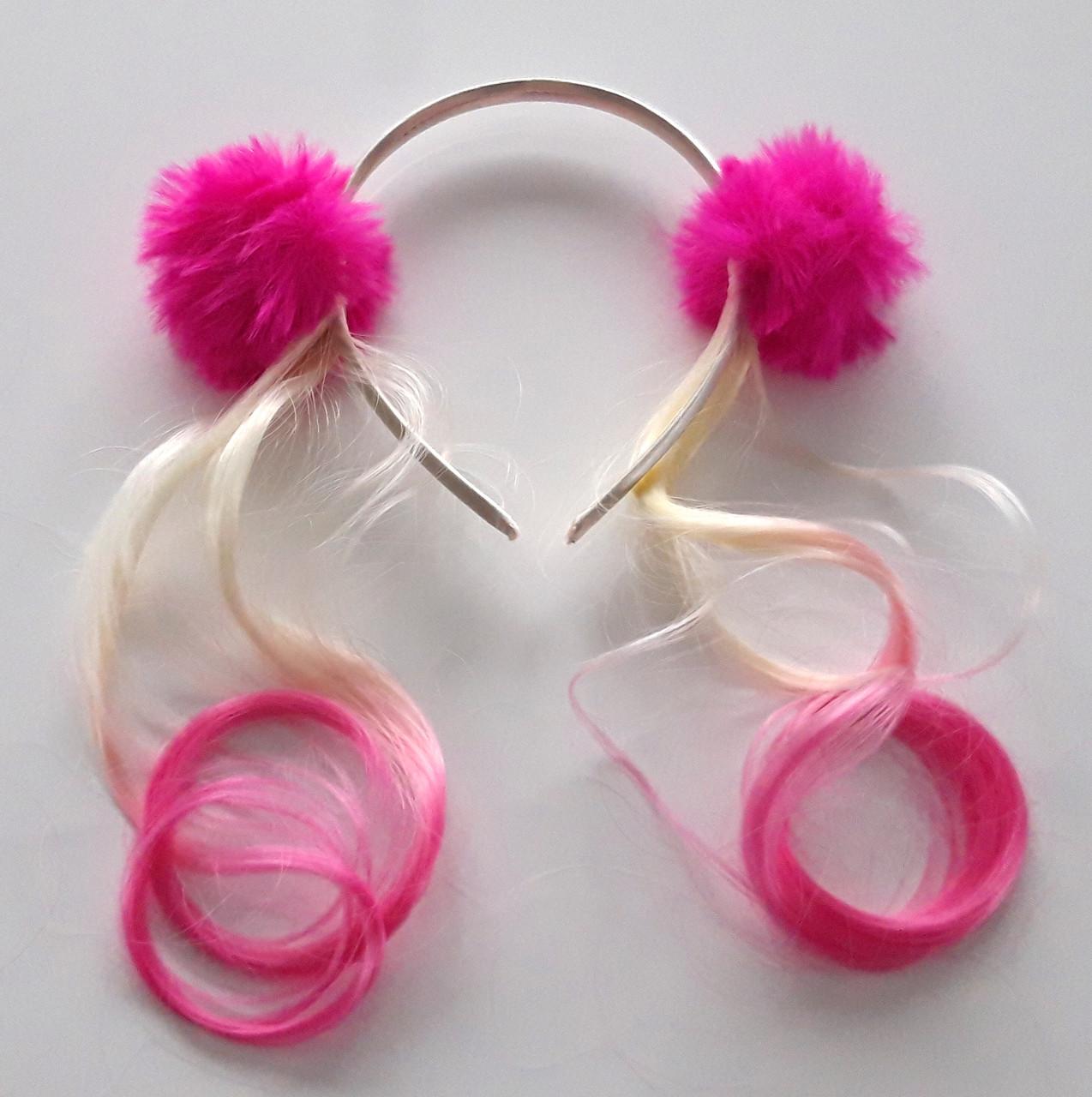 Обруч для волосся з локонами два помпона, малиновий