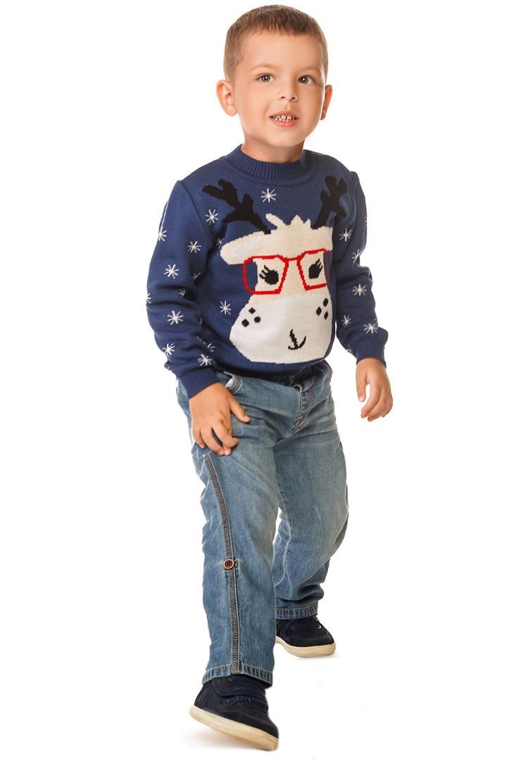 Вязаный новогодний свитер с оленем для мальчика 86-104 р