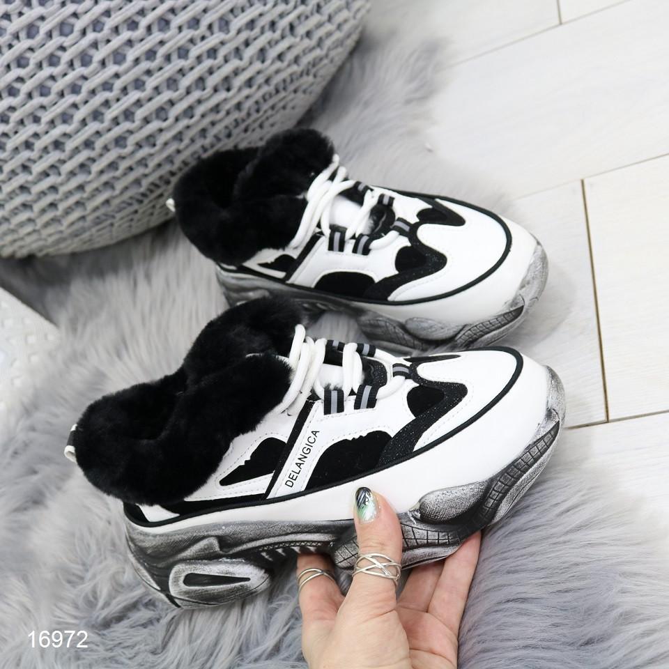 Кроссовки ботинки женские зимние в стиле Balenciaga баленсиага черно-белые с мехом