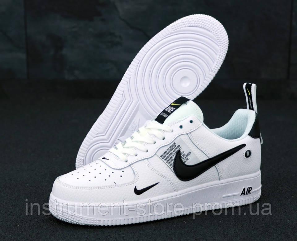 Кроссовки мужские Nike Air Force 1 TM White Black Low в стиле Найк Аир Форс 1 белые