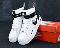 Кроссовки мужские Nike Air Force TM White Black / Найк Аир Форс высокие, белые с черным