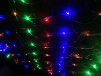 Гирлянда сетка разноцветная силиконовый шнур 1.5м
