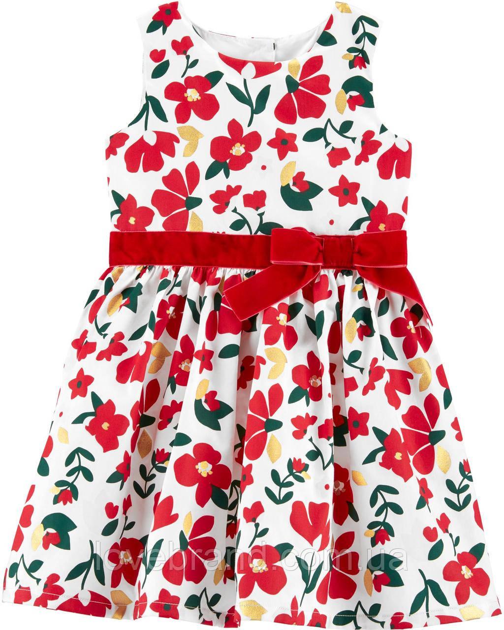 """Нарядное платье для девочки Carter's (США) белое с красным """"Цветы"""" 12 мес/72-78 см"""