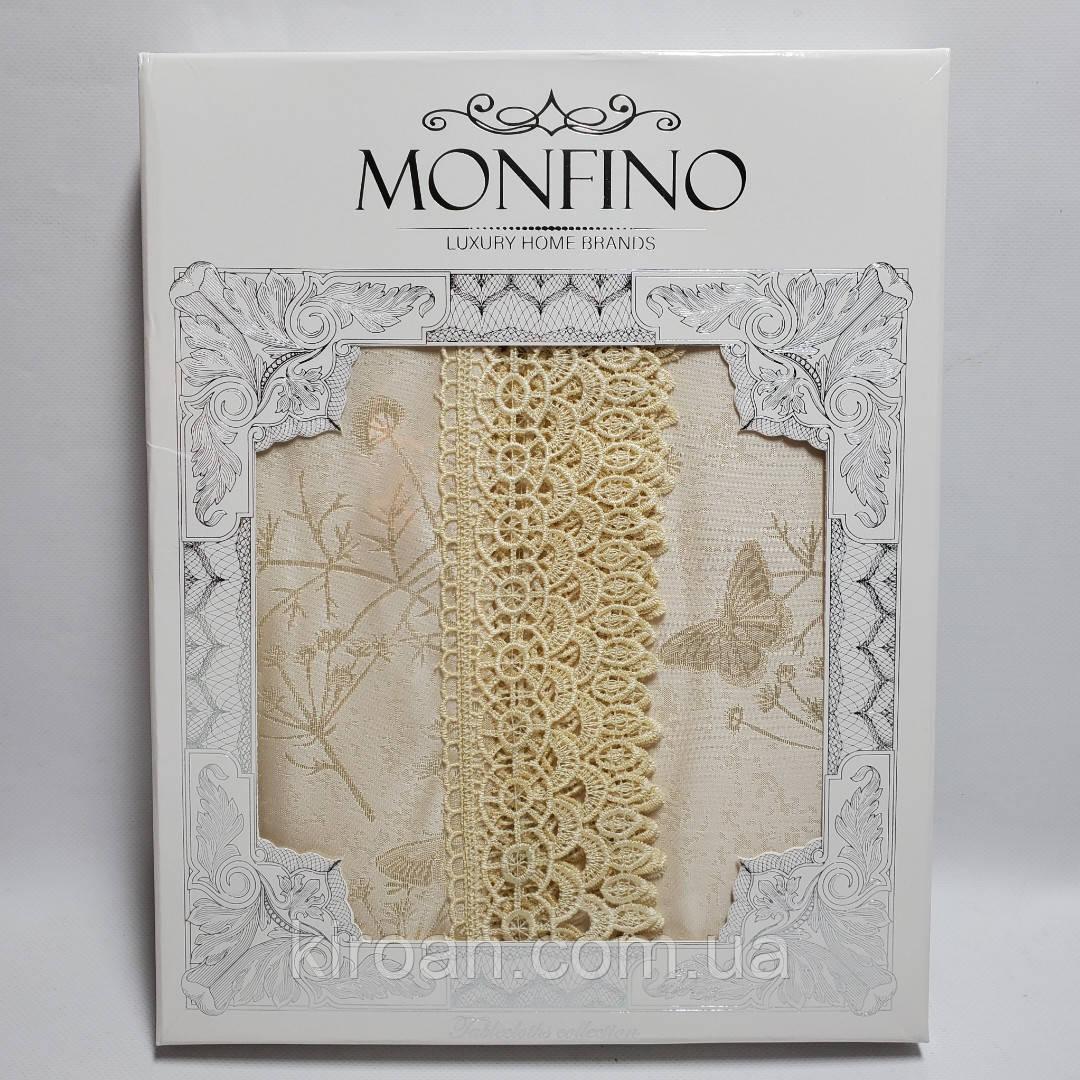 Бежевая Праздничная жаккардовая скатерть в подарочной коробке Monfino 150х220см (полиэстер + хлопок)