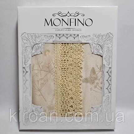 Бежевая Праздничная жаккардовая скатерть в подарочной коробке Monfino 150х220см (полиэстер + хлопок), фото 2