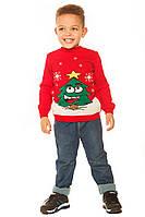 Новогодний красный свитер с елкой для мальчика 104-152 р