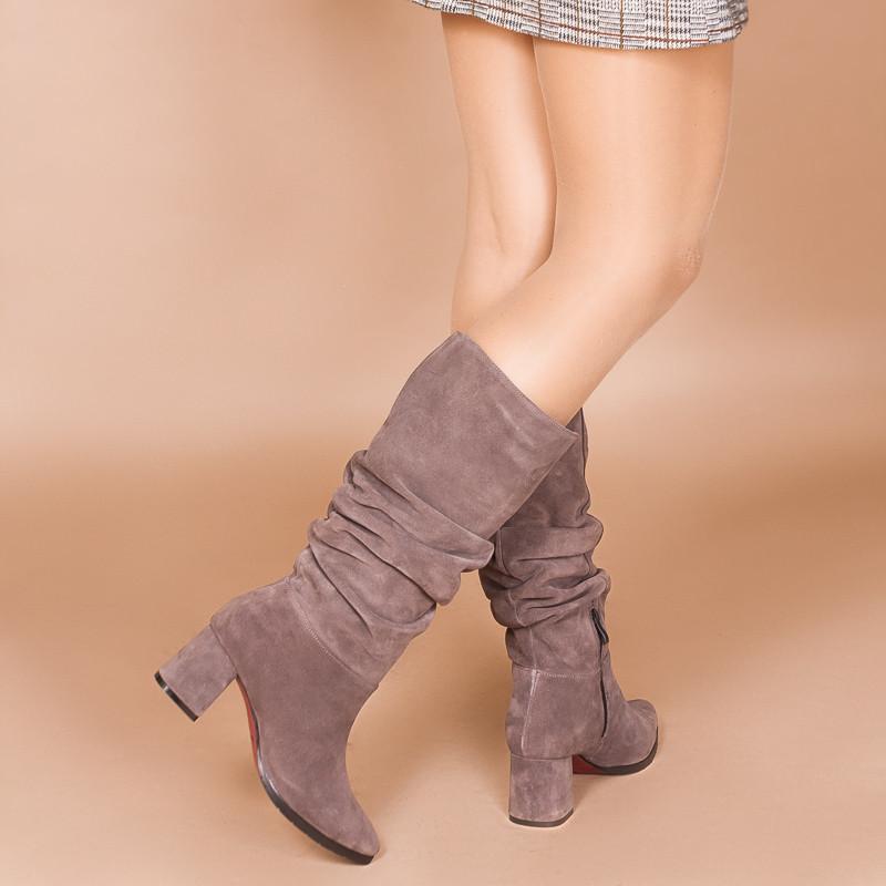 Замшевые женские сапоги-гармошки на среднем каблуке. Натуральная замша. Зима, деми.