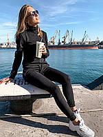 Женский зимний спортивный костюм из ангоры, кофта гольф, пояс брюк на резинке и затяжки (42-46) Чёрный