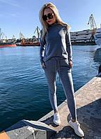 Женский зимний спортивный костюм из ангоры, кофта гольф, пояс брюк на резинке и затяжки (42-46) Серый