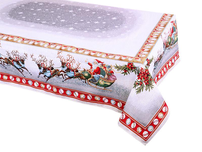 Скатерть гобеленовая новогодняя с люрексом 140х260 см, Lefard, 716-003