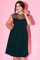 Вечернее платье темно-зеленого цвета без рукава. Модель 23313. Размеры 50-54