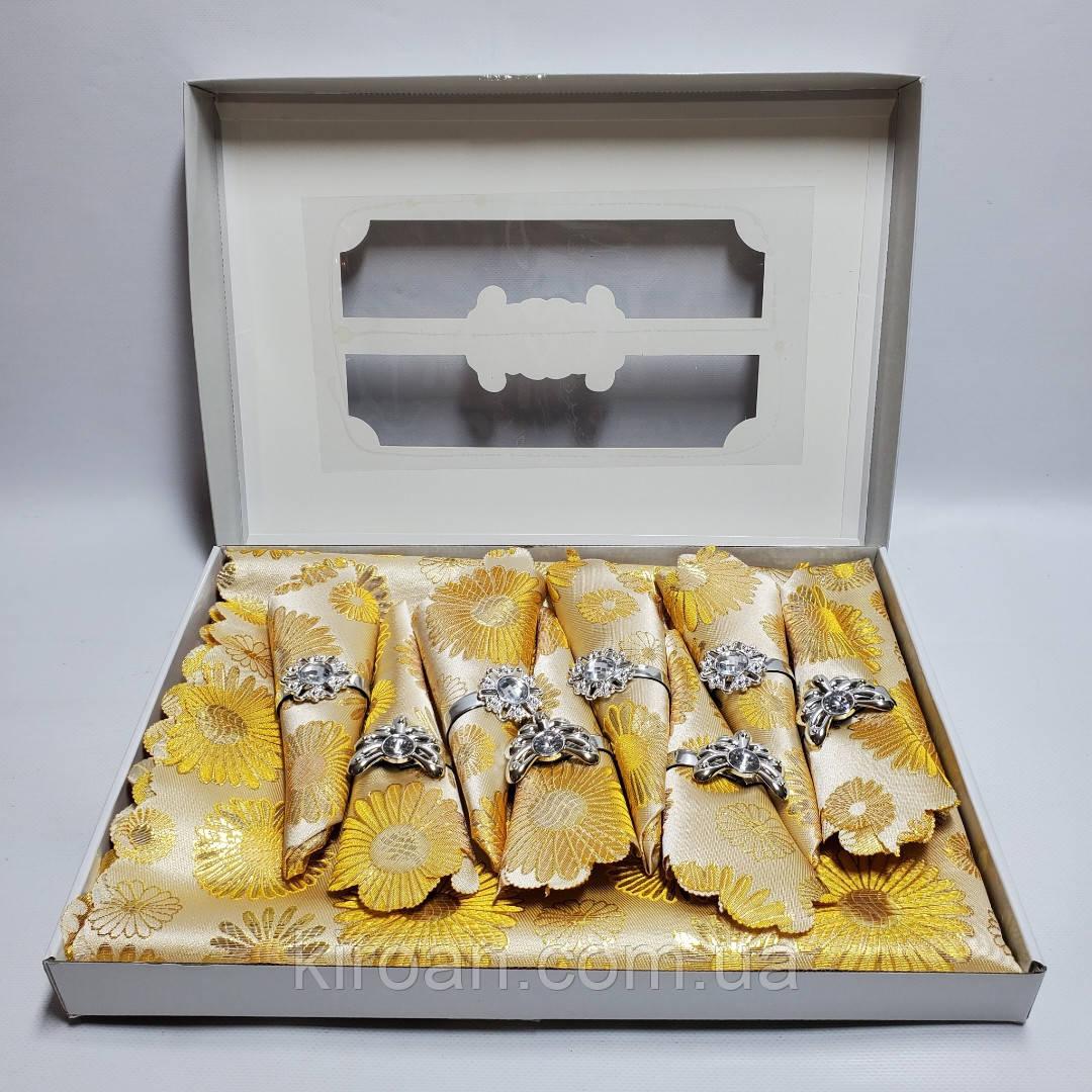 Сктерть с салфетками и держателями в подарочной коробке 150х220 (Золотая)