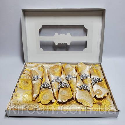 Сктерть с салфетками и держателями в подарочной коробке 150х220 (Золотая), фото 2