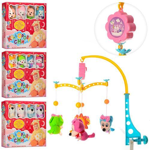 Мобиль карусель с игрушками Цветные Сны M 1179 U/R музыкальная заводная