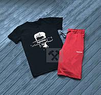 Мужской комплект футболка + шорты в стиле SUPREME черного и красного цвета