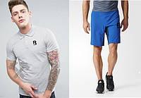Мужской комплект поло + шорты в стиле REEBOK серого и голубого цвета