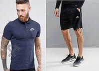 Мужской комплект поло + шорты в стиле REEBOK синего и черного цвета