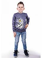 Синий новогодний свитер со снеговиком для мальчика 86-104 р