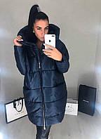 Женская тёплая куртка по колено большие размеры