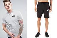 Мужской комплект поло + шорты в стиле UFC серого и черного цвета