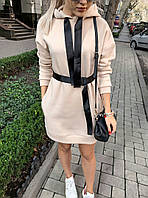 Тёплое платье свободного кроя с капюшоном декорировано поясом, низ платья на манжете, длинный рукав (42-46)