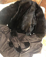 Платок натуральная скандинавская  норка (серый, пудра, чёрный, голубой, комбинированный)