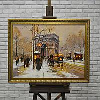 "Картина маслом ""На улицах Парижа"" 80х60 см"