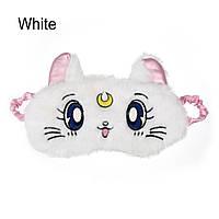"Маска для сна и отдыха ""Cute Kitten - White"". Повязка для сна и релакса. Ночная маска для сна. Маска для сну, фото 1"