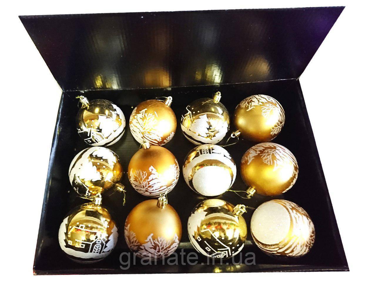 Елочные шары с рисунком 8 см 12 шт, цвет - золото