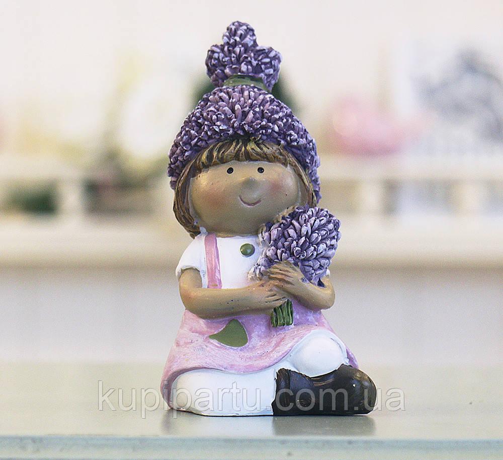 Декоративная статуэтка девочка Лаванда h16см 1003609-3 роз.платье