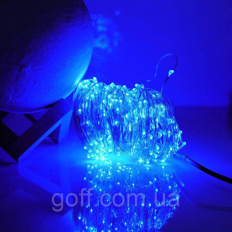 Светодиодная гирлянда Роса 10 метров синий цвет