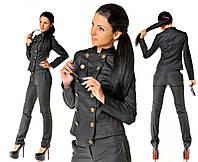Костюм черный Милитари брюки и пиджак