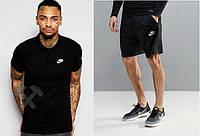 Мужской комплект поло + шорты в стиле Nike черного цвета