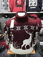 Рождественский тёплый мужской свитер-гольф с оленями  М-2XL большой ассортимент,разные цвета и орнаменты