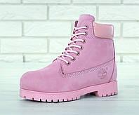 """Зимние женские ботинки Timberland 6 inch Winter """"Pink"""" / Тимберленд с натуральным мехом, розовые"""