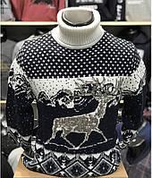 Рождественский белый мужской свитер-гольф с оленями  М-2XL большой ассортимент,разные цвета и орнаменты
