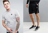 Мужской комплект поло + шорты в стиле Adidas серого и черного цвета