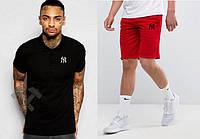 Мужской комплект поло + шортыв стиле NEW YORK черного и красного цвета