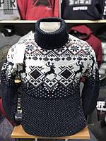 Очёнь тёплый мужской свитер-гольф с оленями  М-2XL большой ассортимент,разные цвета и орнаменты