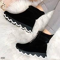 Зимние черные ботинки натуральная замша, фото 1