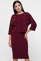 Женский теплый юбочный бордовый костюм, фото 1