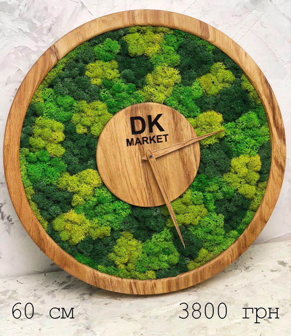 Часы настенные МОХ с мхом диаметр 60 см