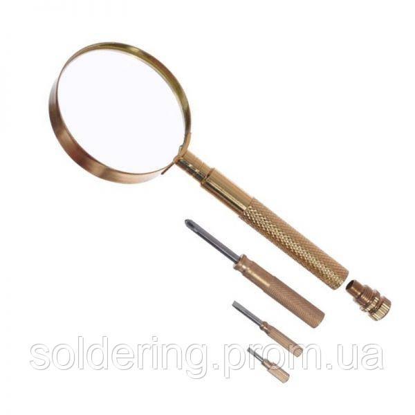 Ручная лупа Magnifier MG18151, увел.- 2.5Х, диам.- 100мм с набором отверток в ручке