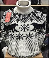 Мужской тёплый свитер-гольф с оленями  М-2XL большой ассортимент,разные цвета и орнаменты