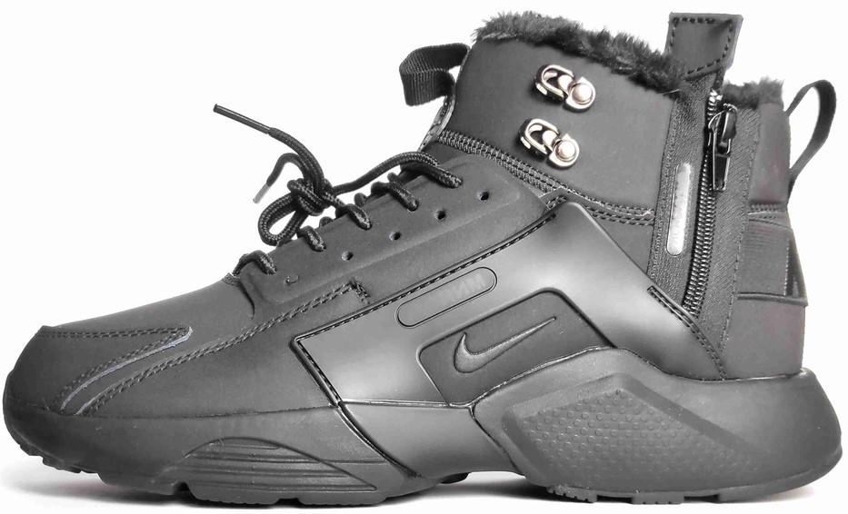 """Мужские зимние кроссовки Nike Air Huarache Acronym """"Black"""" (Найк) черные"""