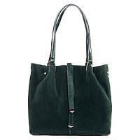Женская кожаная сумка изумрудного цвета с замшевым фасадом